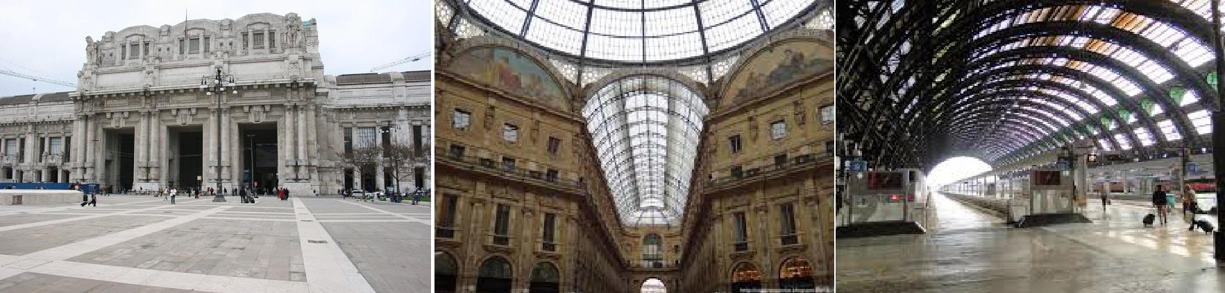 Detalhes da frente da Milano Centrale, do teto com as paredes e as plataformas de embarque