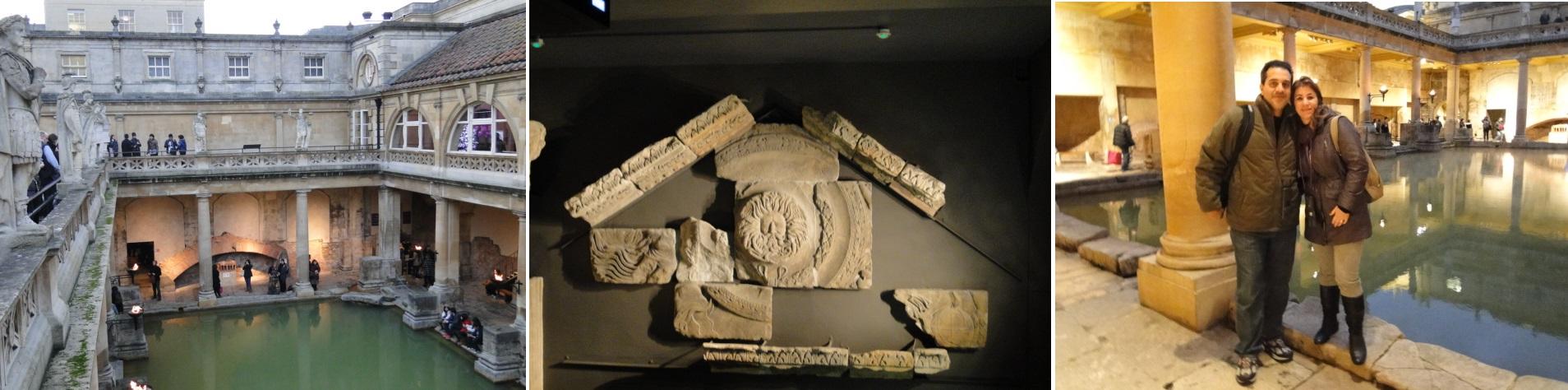 Piscinas das termas romanas e objetos encontrados nas escavações