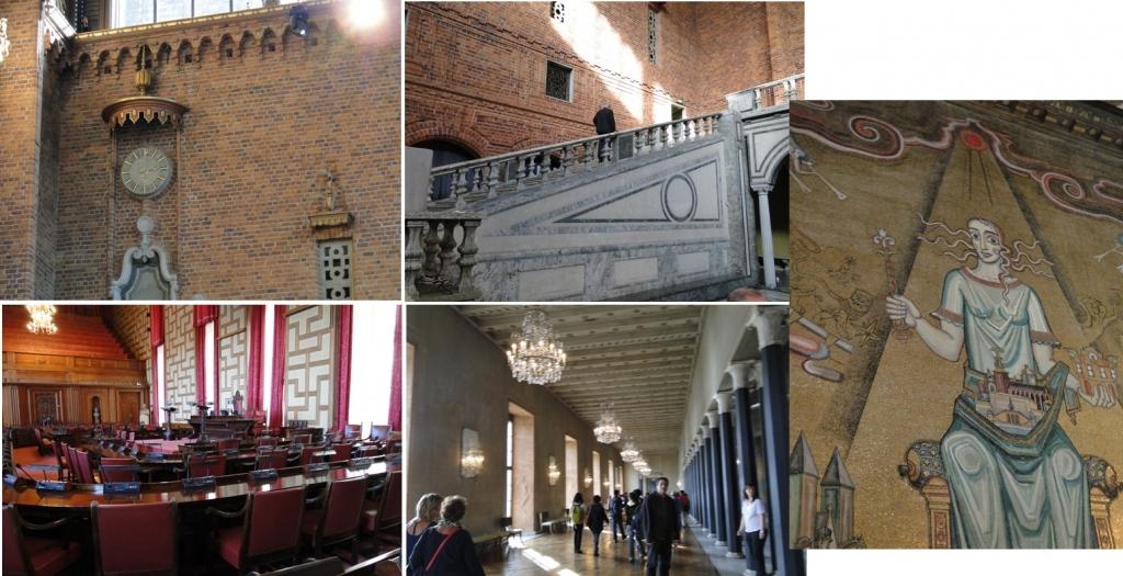 Detalhes dos ambientes internos da prefeitura, com artes, pinturas e decoração