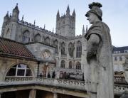 A abadia de Bath vista do terraço panorâmico das termas