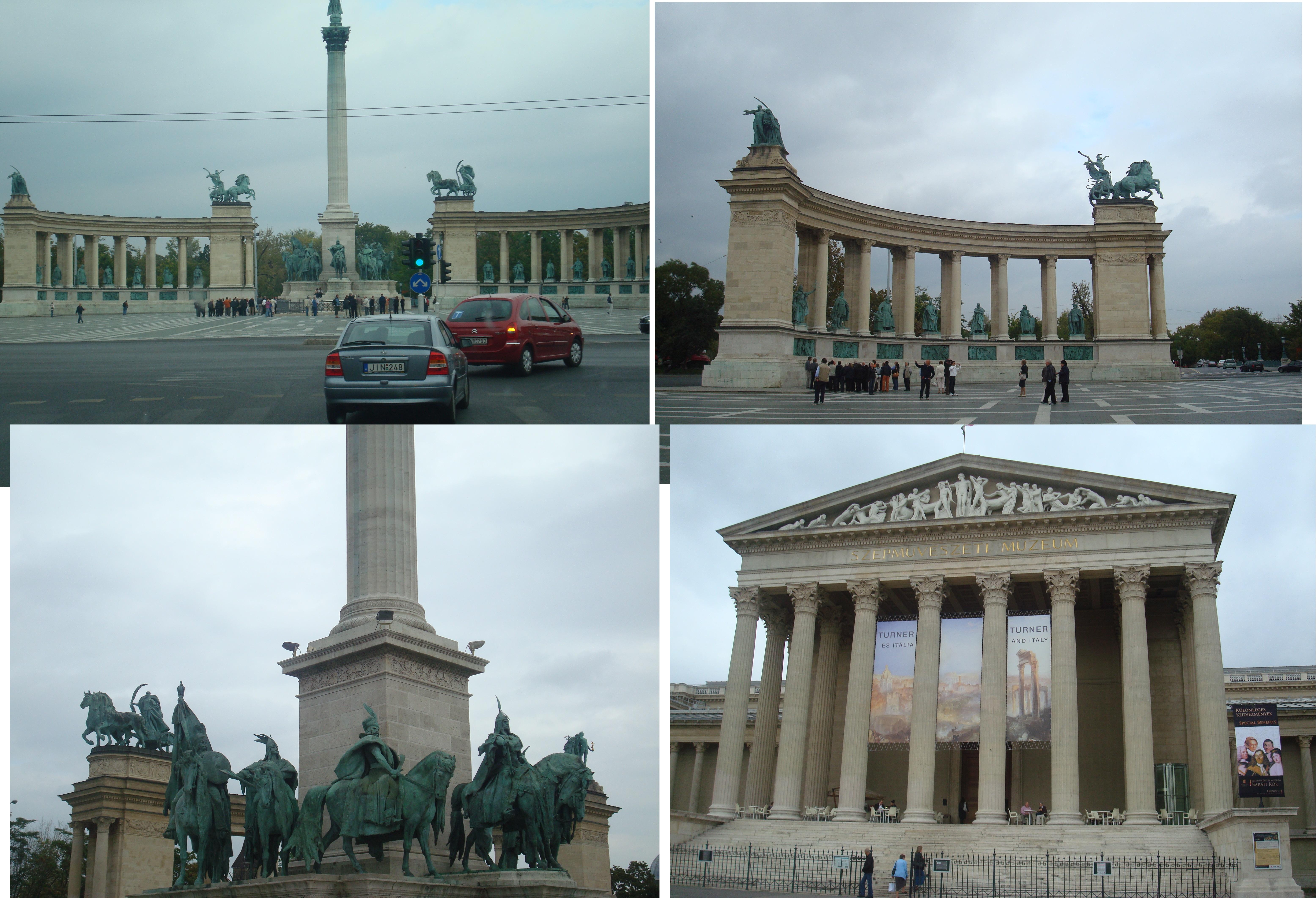 A praça Vörösmarty, com o pavilhão dos guerreiros e o teatro